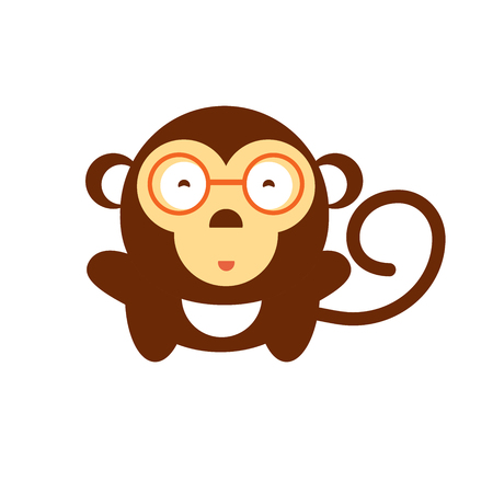 anger kid: Vector cartoon monkey. Fun baby of Chimpanzee in glasses. Cute gorilla kid on isolated background. Symbol of 2016 year