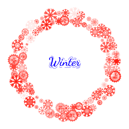 pictogramme: Circle banner with Christmas and New Year celebration elements. Design element for Christmas card, Christmas banner or flyer with snowflake. New year celebration pictogramms