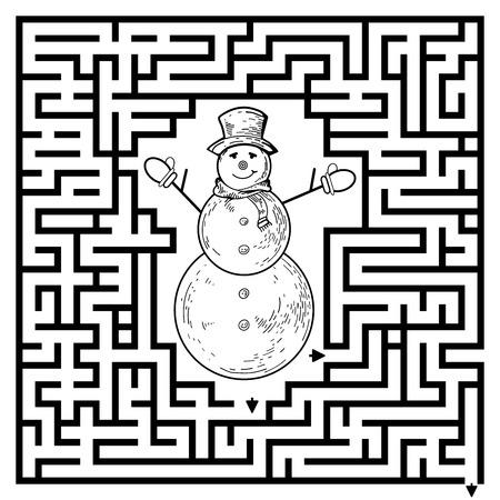 Gioco del labirinto divertente per i bambini. Visualor gioco per bambini in età prescolare. Labirinto puzzle con il pupazzo di neve. Vettore Labirinto per i bambini in età prescolare. Rebus o quiz per la scuola