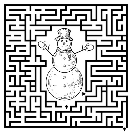Funny maze game for kids. Visualor game for Preschool Children. Maze puzzle with snowman. Vector Labyrinth for preschool children. Rebus or quiz for school Illustration