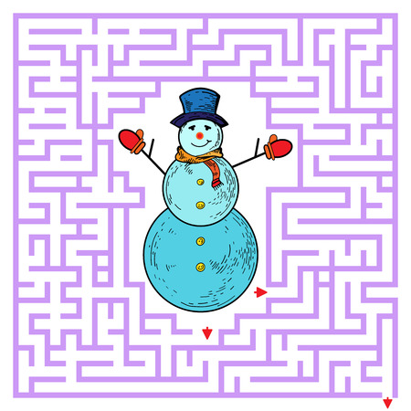 Funny maze game for kids. Visualor game for Preschool Children. Maze puzzle with snowman. Vector Labyrinth for preschool children. Rebus or quiz for school Çizim