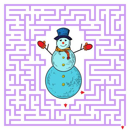 Funny maze game for kids. Visualor game for Preschool Children. Maze puzzle with snowman. Vector Labyrinth for preschool children. Rebus or quiz for school Ilustrace