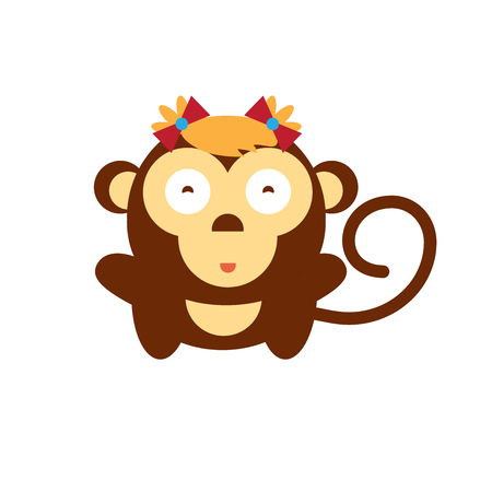 yea: Fun girl of Chimpanzee. Cute gorilla kid on isolated background. Vector cartoon monkey. Symbol of 2016 yea Illustration