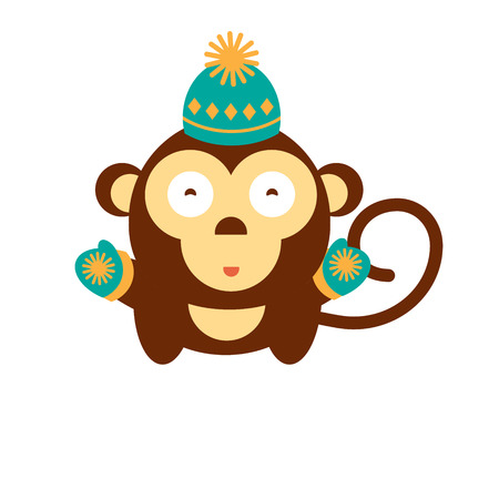 anger kid: Cute gorilla kid on isolated background. Vector cartoon monkey. Fun baby of Chimpanzee in winter hat. Symbol of 2016 year