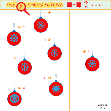 Game puzzles find similar image between two. Education matching game for preschool children. Visual puzzle game for kid. Quiz game. Cartoon christmas balls