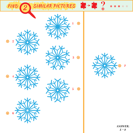 Game puzzles find similar image between two. Education matching game for preschool children. Visual puzzle game for kid. Quiz game. Cartoon snowflakes