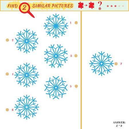 Spiel Puzzles finden ähnliches Bild zwischen zwei. Bildung Matching-Spiel für Kinder im Vorschulalter. Visuelle Puzzle-Spiel für Kind. Quiz-Spiel. Cartoon Schneeflocken Standard-Bild - 48496593