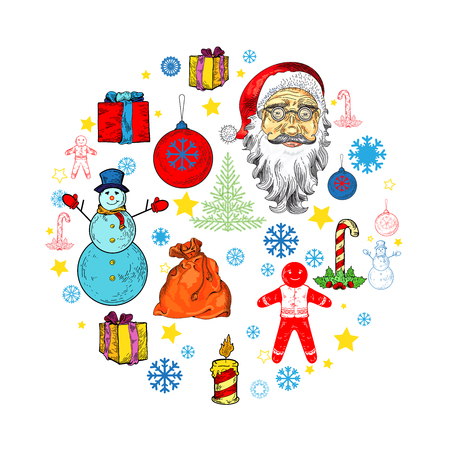 pictogramm: Christmas illustration with ginger man, santa claus, presents, snowman, christmas tree, presents, snowflake. Place for your text. illustration for banners, flyers, business design