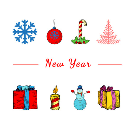 white cane: Christmas template flyer. Christmas celebration concept - lots of christmas and new year symbols on isolated background. Place for your text. Presents, snowman, christmas tree, presents, snowflake
