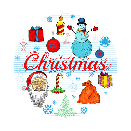 pictogramm: Circle christmas illustration with ginger man, santa claus, presents, snowman, christmas tree, presents, snowflake. Template with lettering. illustration for banners, flyers, business design