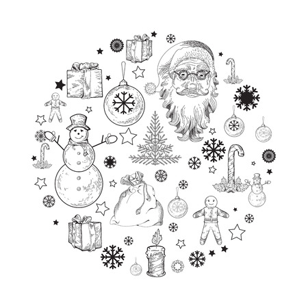 pictogramm: Circle pictogramme with Christmas and New Year elements. Holidays vector template with ginger man, santa claus, presents, snowman, christmas tree, presents, snowflake