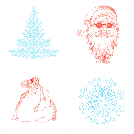 pictogramm: Collection of hand drawing illustrations on Christmas theme including snowflake, Santa Claus, fir-tree, bag. Line vector illustration. Christmas and New Year elements Illustration