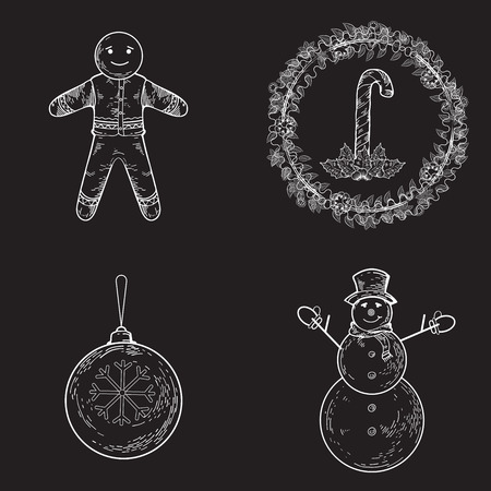 pictogramm: Collection of hand drawing illustrations on Christmas theme including snowman, gingerbread, candy cane, ball, mistletoe. New Year elements for banners, flyers, business design