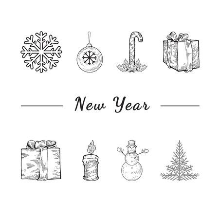 arboles blanco y negro: Plantilla del aviador de Navidad. Navidad concepto de la celebración - un montón de navidad y año nuevos símbolos en el fondo aislado. Lugar para el texto. Presenta, muñeco de nieve, árbol de navidad, presentes, copo de nieve
