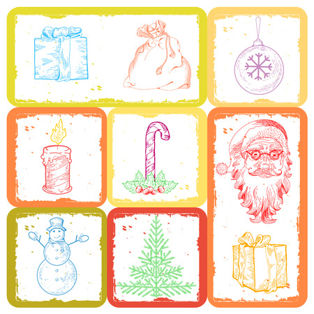pictogramm: Christmas and new year set lot of icon and symbols. Template with ginger man, santa claus, presents, snowman, christmas tree, cane candy, snowflake on isolated background