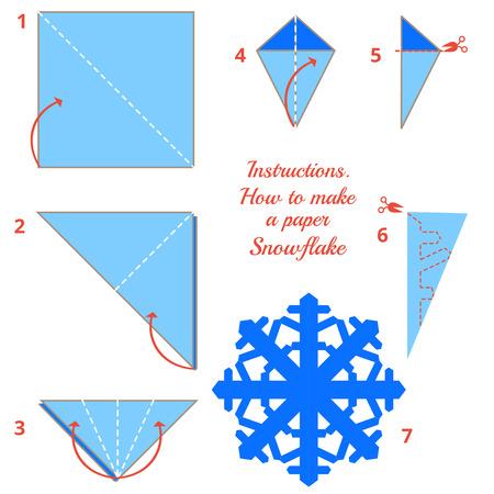 copo de nieve: juego visual. DIY hecha de oficio. Instrucciones de cómo hacer copo de nieve de papel. Tutorial paso a paso del copo de nieve de Navidad. Vector Origami copo de nieve. Juego educativo para los niños Vectores