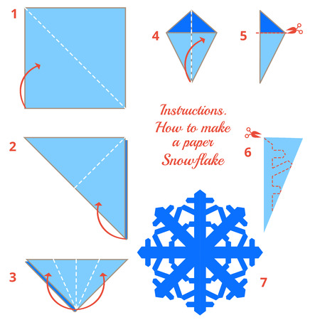 craft: Visual game. diy made of craft. Instructions how to make paper snowflake. Tutorial Christmas snowflake step by step. Vector origami snowflake. Educational game for kids