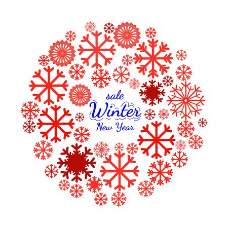pictogramme: Circle banner with snowflake. Christmas illustration - winter symbols including snowflakes. Design element for Christmas card, Christmas banners with sale slogan