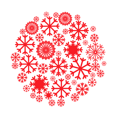 pictogramme: Circle banner with Christmas and New Year symbols including snowflake.