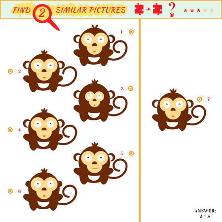 spot the difference: Game puzzles find similar image between two. Education matching game for preschool children. Visual puzzle game for kid. Quiz game. Cartoon monkey Illustration