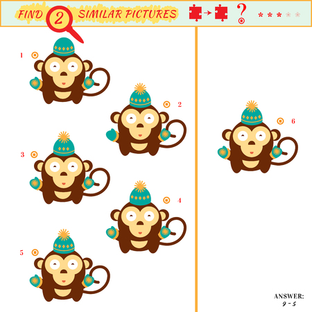 Game puzzles find similar image between two. Education matching game for preschool children. Visual puzzle game for kid. Quiz game. Cartoon monkey Illustration