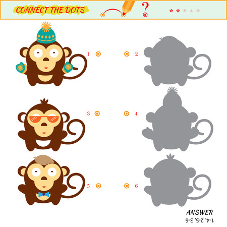 two minds: Visual game for kid. Matching applications game. Connect the dots picture. Puzzle, maze, jigsaw, quiz, rebus, game for preschool child. Cartoon monkey