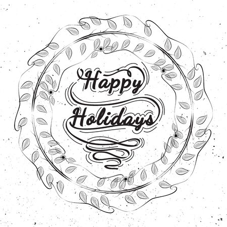 happy holidays: Christmas decorative symbols for winter holidays. Happy Holidays - quote in wreath mistletoe. Wreath of mistletoe drawing on white dirty paper. Christmas elements on graphic style