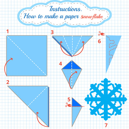 snowflake: Instructions how to make paper snowflake. Tutorial Christmas snowflake step by step. origami snowflake. Educational game for kids. Visual game. diy made of craft
