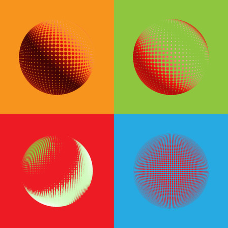 environmental science: Abstract halftone circle design. Colorful round set of icon, abstract globe symbol, business concept. Abstract colorful dotted sphere. Science and tourism, technology or environmental background