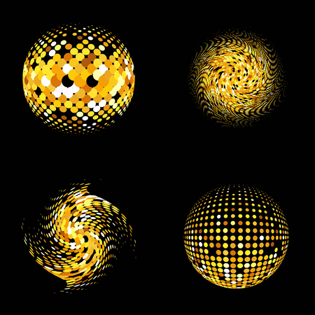 gold globe: Gold vector abstract background.Vector abstract set dotted globe. Gold dots set on black background. Sparkling gold set sequins on a black background. Disco balls background