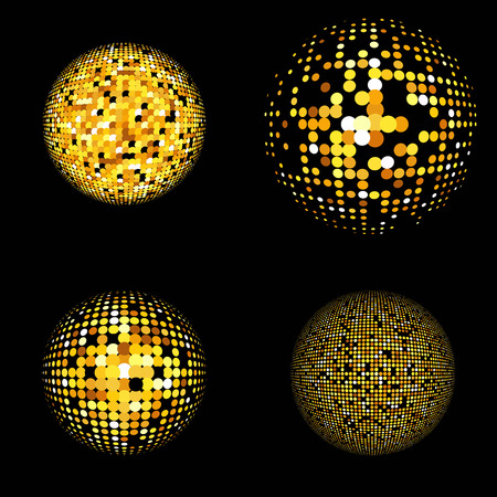 gold globe: Gold vector abstract background. Abstract globe symbols, round icons, business concept. Gold dots set on black background. Sparkling gold sequins set on a black background Illustration