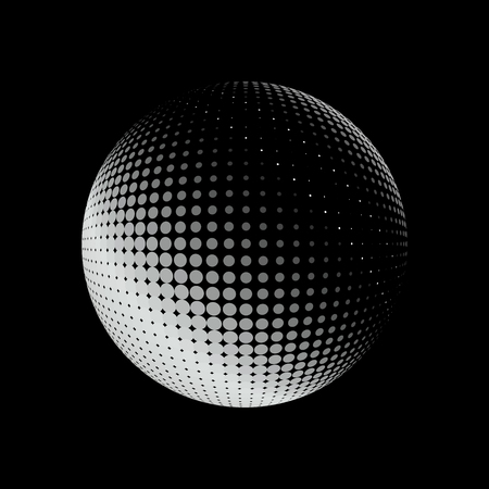 sphere icon: Abstract halftone circle design. White round icon on black background, abstract globe symbol, business concept. Abstract white dotted sphere. Stippled background