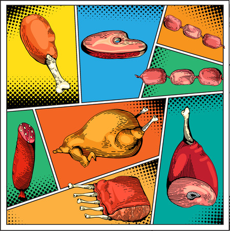 spare ribs: Chicken Gammon, Ribs, Sausage, Steaks. Vintage Hand drawn sketch of meat. Vector Meat set. Food in pop art style. Steak, ham, bq, bbq, gammon in comics style