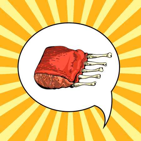 rib: Beef rib illustration in pop art style. Menu for restaurant or cafe. Rib roast grilled. Vector barbecue vintage poster. Meat in pop art comic style. Rib hand drawn image