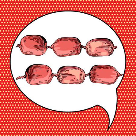 bratwurst: Sausage illustration in pop art style. Menu for restaurant or cafe. Salami in vintage style. Vector barbecue vintage poster. Frankfurter bratwurst in pop art comic style. Sausage hand drawn
