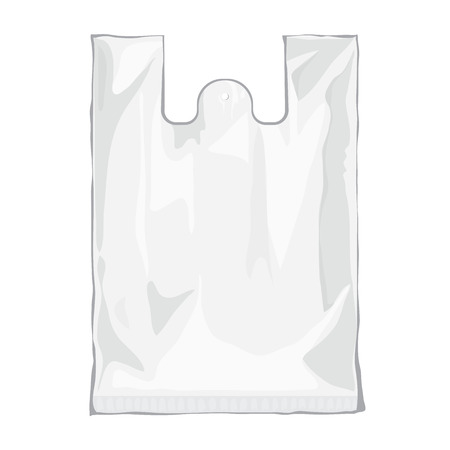 empty pocket: Blank white plastic bag isolated on white background. Blank plastic bag with place for your design and branding. Ready for Your design. Product packing bag. Vector transparent bag Illustration