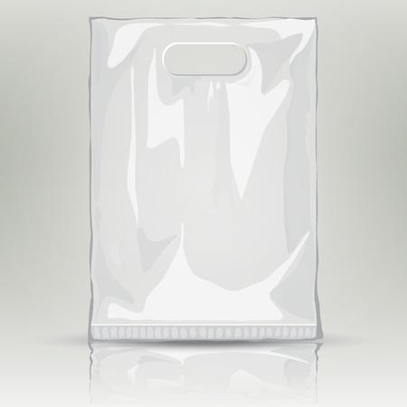 Disposable Plastic Bag. Maquette modèle de récipient en plastique vide. Vector sac en nylon illustration. sac de poche en plastique blanc avec la place pour votre conception et l'image de marque