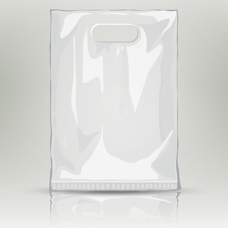 Disposable Plastic Bag. Mock up template of empty plastic container. Vector nylon bag illustration. Blank plastic pocket bag with place for your design and branding