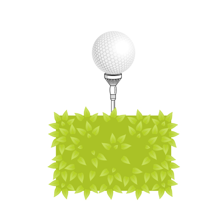 golf ball tee: Golf vector. Golf tee with realistic ball on grass. Golf elements on isolated background with space for text. Vector bush, golf ball, tee