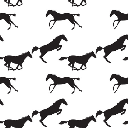 herd: Running and jumping herd of horses. Vector seamless pattern with horses. Black horse seamless pattern on isolated background. Background with Equine sports theme