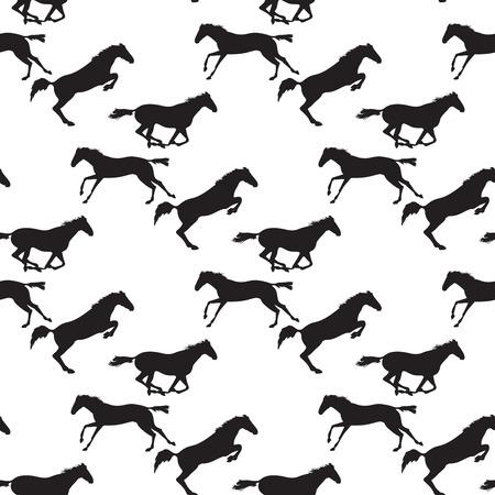 cavallo che salta: cavallo seamless nero su sfondo isolato. Sfondo con il tema di ippica. Correre e saltare mandria di cavalli. Vector seamless con i cavalli