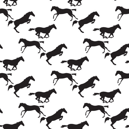Black horse seamless pattern on isolated background. Background with Equine sports theme. Running and jumping herd of horses. Vector seamless pattern with horses Illustration