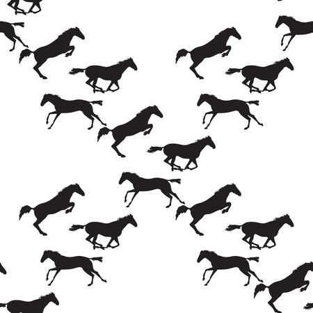gallop: Horse racing image for background, banners, flyers. Vector seamless pattern with horses. Black horse seamless pattern on isolated background. Background with Equine sports theme
