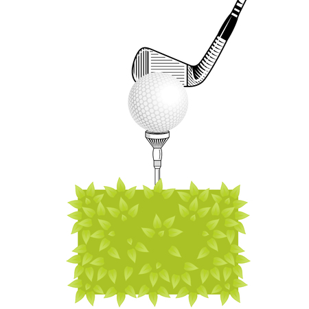golf iron: Golf club close-up. Golf tee with realistic ball on grass. Golf elements on isolated background with space for text. Vector bush, golf ball, tee, iron club
