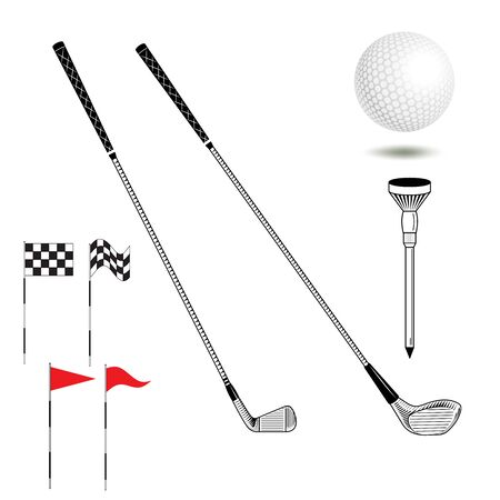 golf iron: Golf icon: iron and wood club, ball, flags, tee on isolated. Vector golf equipment in graphic style. Set of golf icon. Can use for poster, banner, flyer, web