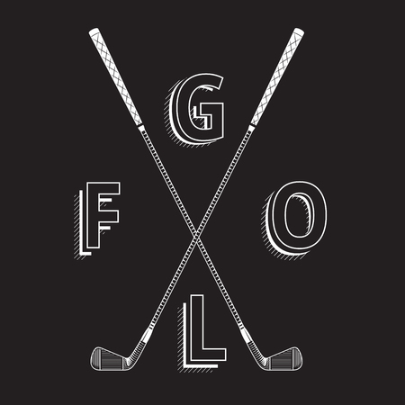 golf iron: Black and white golf made with clubs. Golf iron clubs in graphic style. Golf element made with chalk on black background