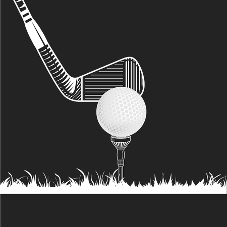 golf iron: Golf tee with ball and iron club on grass. Golf club close-up. Golf club, ball, tee, grass white color on black background