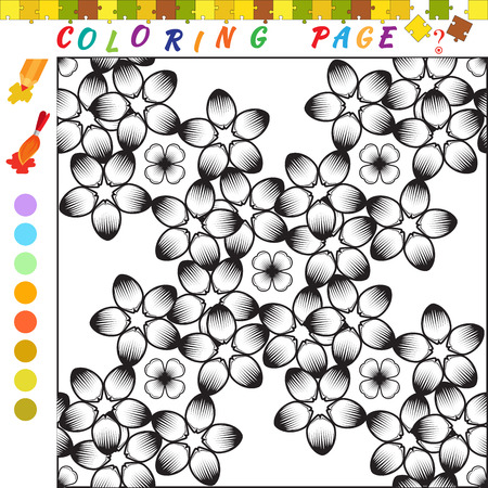 funny image: Coloring book with flowers theme. Black and white outline illustration for coloring. Visual game for kids and preschool childrens. Funny image for colouring, drawing Illustration