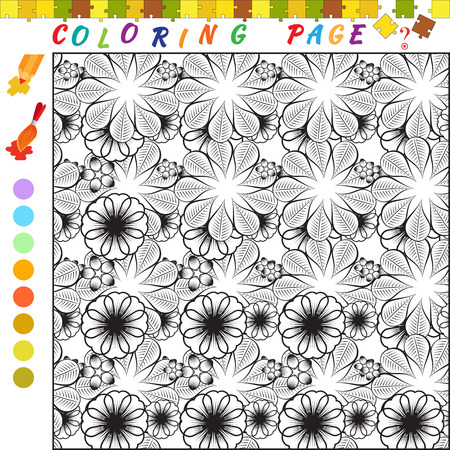 funny image: Coloring book with ornament theme. Black and white outline illustration for coloring. Visual game for kids and preschool childrens. Funny image for colouring, drawing