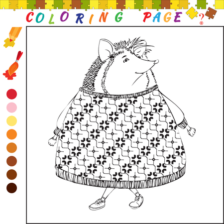funny image: Coloring book with hedgehog. Black and white outline illustration for coloring. Visual game for kids and preschool childrens. Funny image for colouring, drawing Illustration